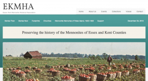 Screenshot of Essex Kent Mennonite Historical Association new website